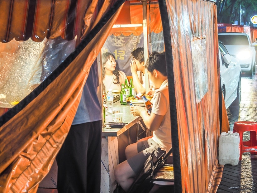 A pojangmacha, or covered food tent, a unique way to eat in South Korea