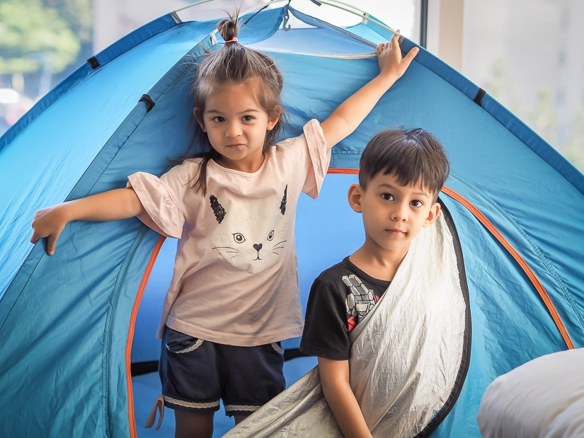 Kids in their tent for the Grand Hyatt luxury camping Grand Hyatt Taipei