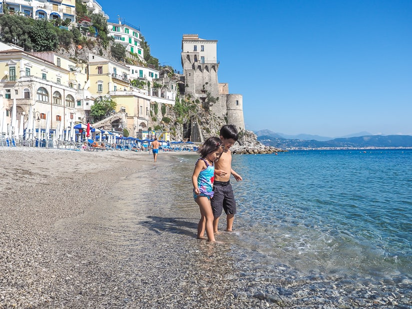Out kids at the beach on the Amalfi Coast