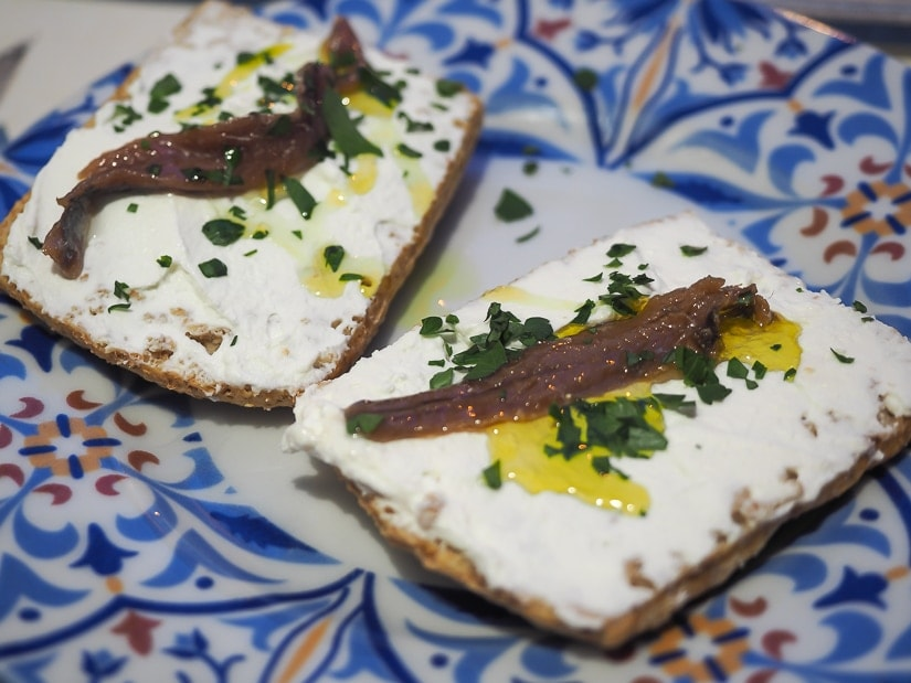 Anchovies on toast, one of the most famous Cetara foods