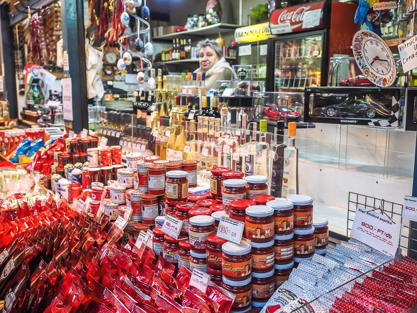 A stall in Great Market Hall with all kinds of paprika condiments