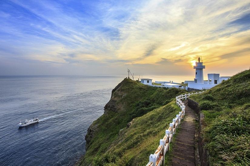 Bitoujiao Lighthouse on the Northeast Coast of Taiwan