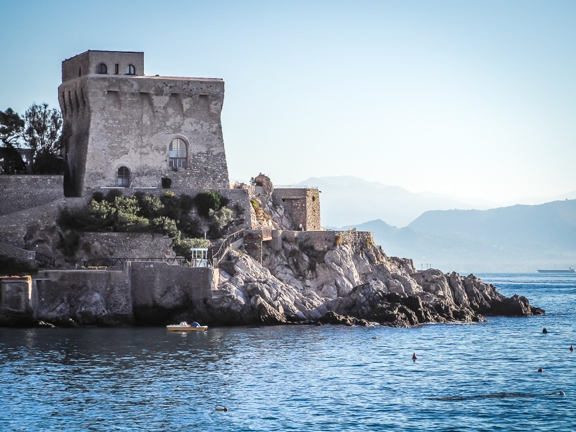 Erchie Tower (Torre di Erchie or Torre La Cerniola) viewed from across the Port of Erchie