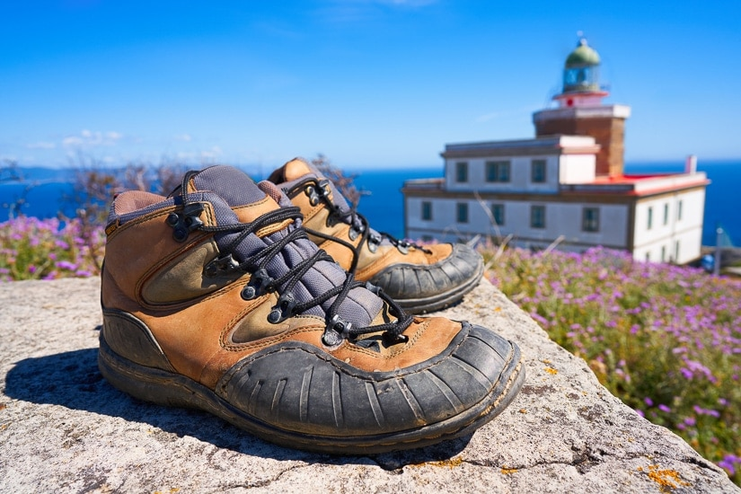 Finisterre, the end of the pilgrimage from Santiago, where pilgrims throw their boots into the sea