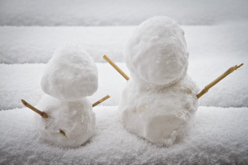 Two little snowmen made in Taiwan