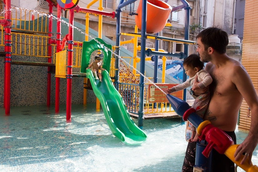 Waterpark for kids at Chuan Tang Hot Spring, a family friendly hot spring in Jiaoxi, Yilan