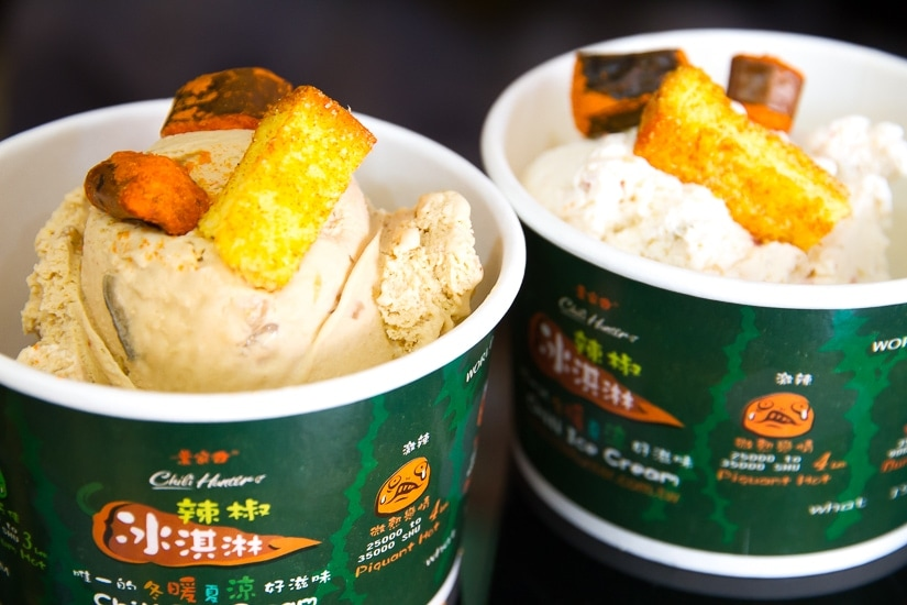 Two cups of Chili Hunter spicy ice cream in Jiaoxo, Yilan