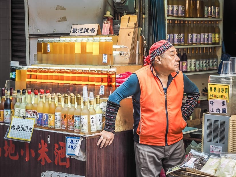 Aboriginal millet wine vendor on Wulai Old Street