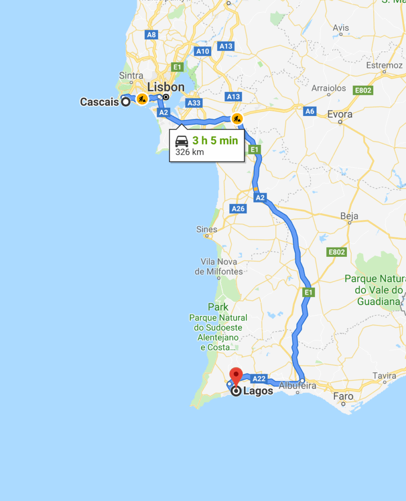 The fastest route from Lisbon to the Algarve