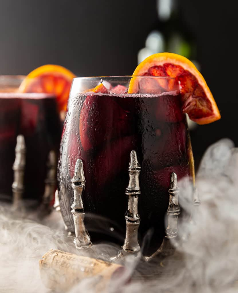 halloween sangria with dry ice