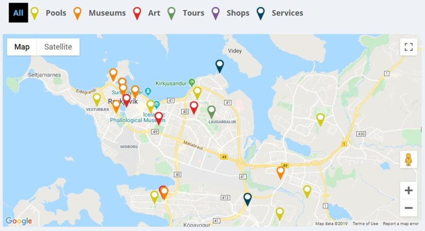 map of museums and activities included with reykjavik city card