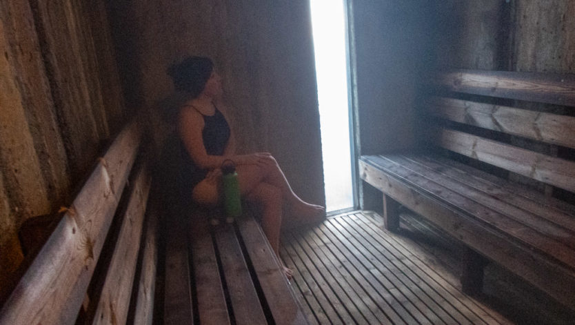 brooke inside steam baths at laugarvatn fontana