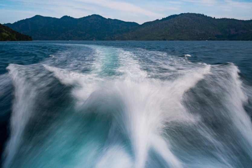 wake from the beachcomber mail boat cruise in queen charlotte sound