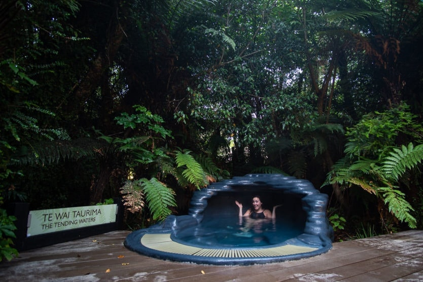 Relaxing in Te Wai Taurima (The Tending Waters) a private pool at the franz josef glacier hot pools a peaceful new zealand hot spring