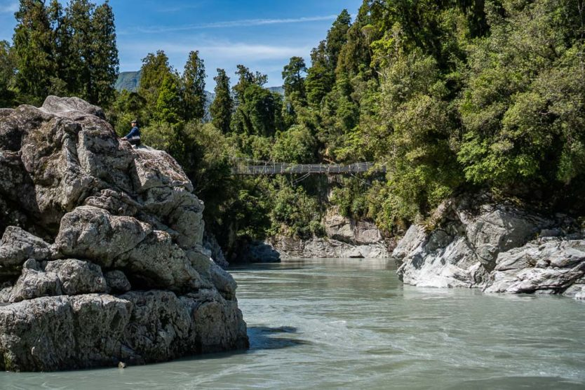 Hokitika Gorge when the water was not turquoise due to lack of rock flour in the water due the heavy rains in the days prior