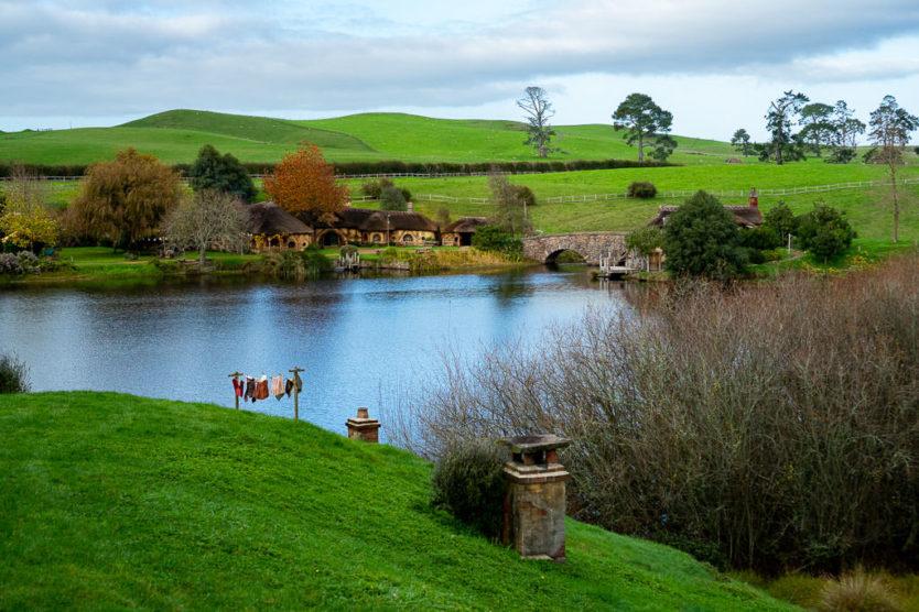 visiting hobbiton in new zealand - lake views