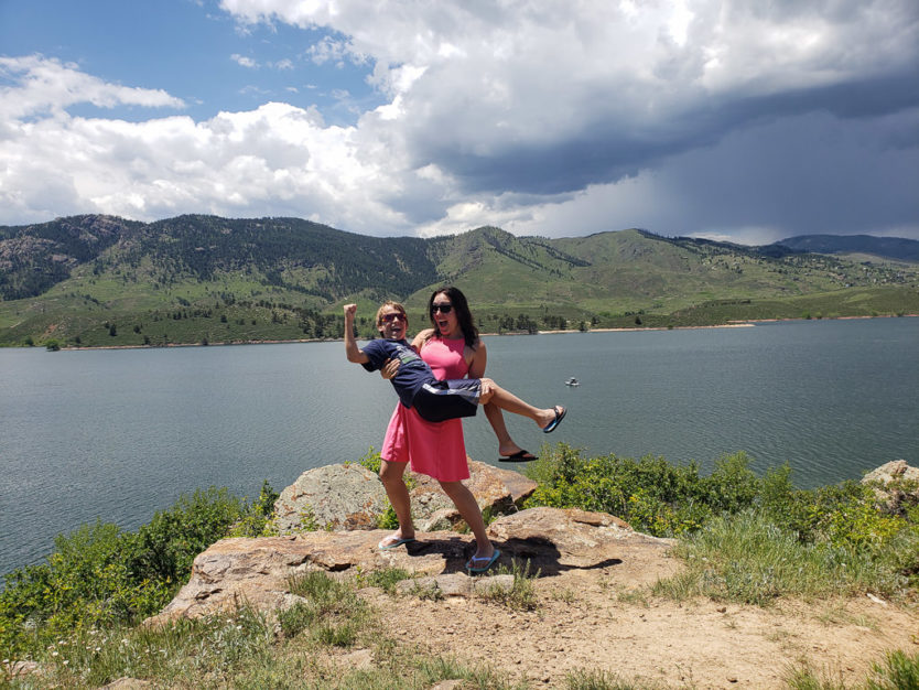 picking up nephew at horsetooth reservoir in colorado