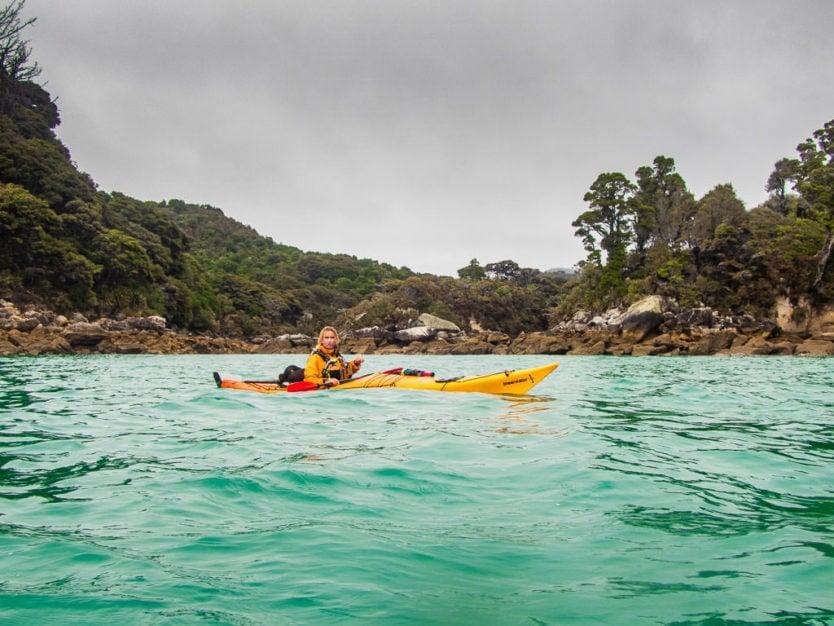 kayaking in shag harbour in abel tasman national park's tonga island marine reserve