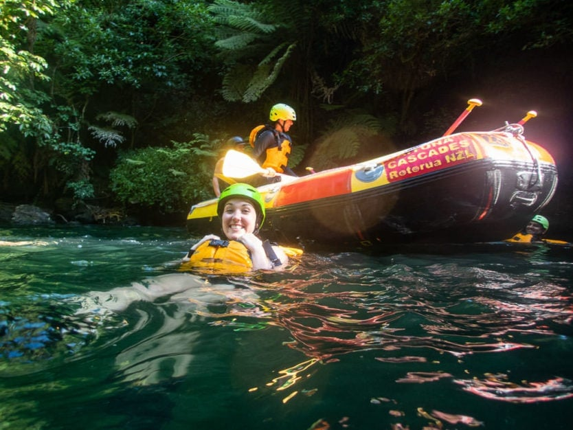 swimming at rotorua rafting trip