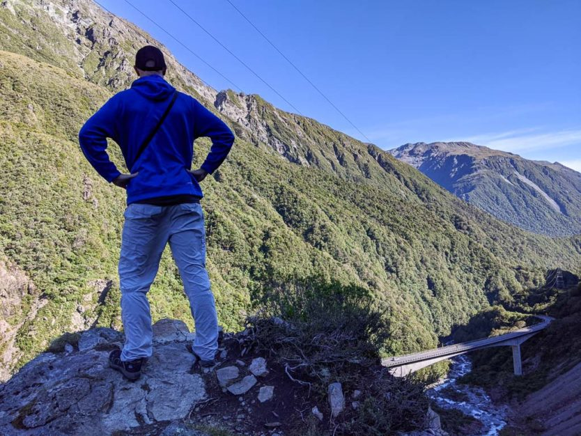 Looking down onto the Otira Viaduct from a large rock at the lookout