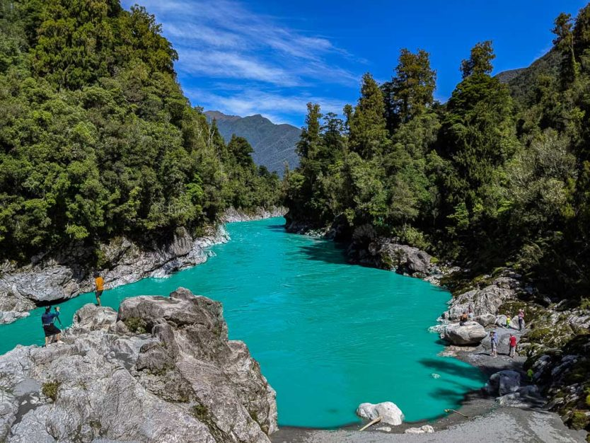 Photoshopped version showing what the photo would look like - Hokitika Gorge when the water was not turquoise due to lack of rock flour in the water due the heavy rains in the days prior