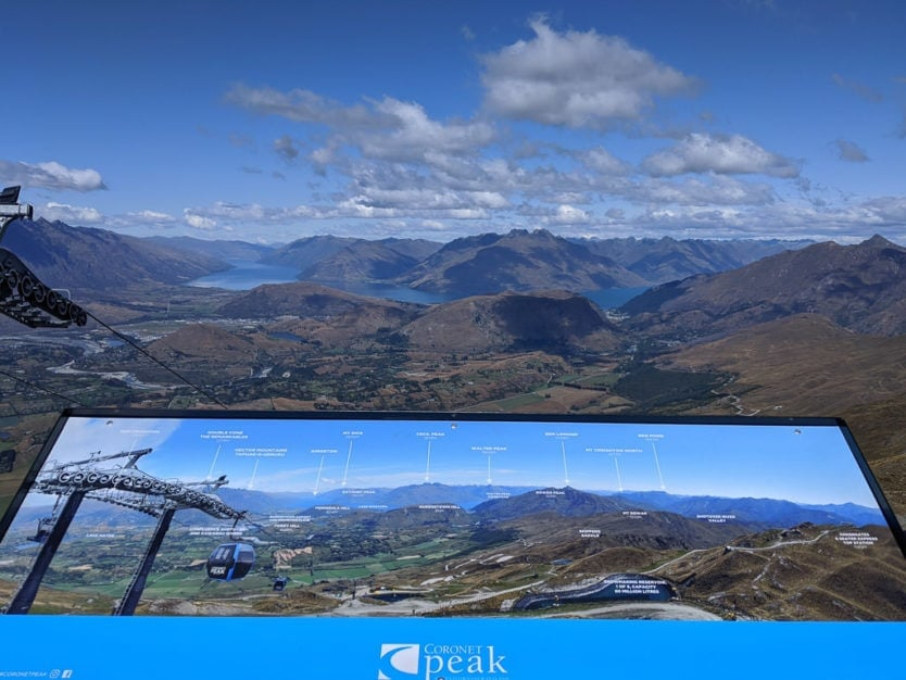 views of queenstown and mountains from coronet peak