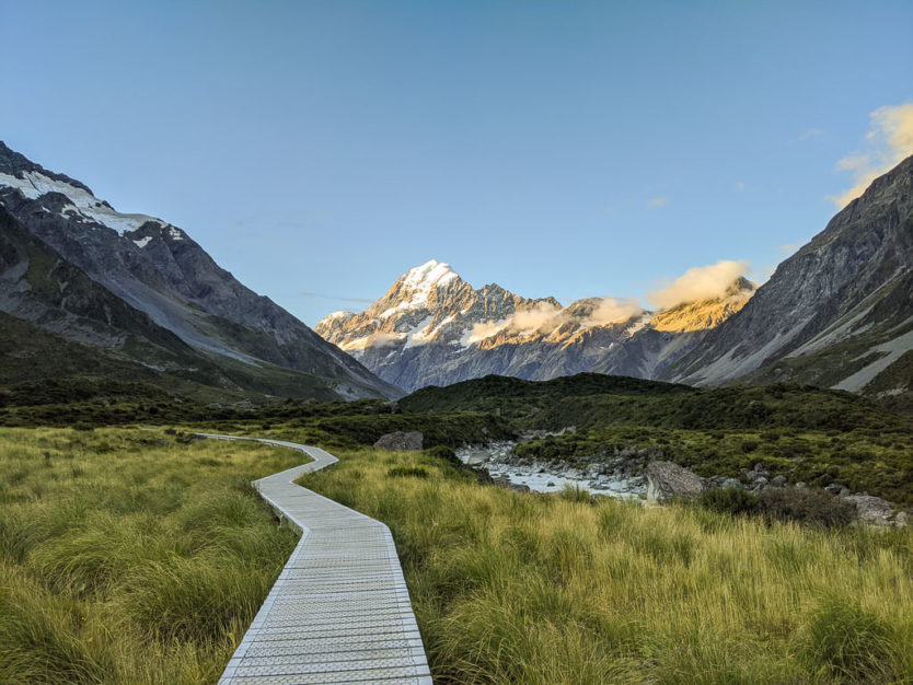 hooker valley track in mount cook new zealand