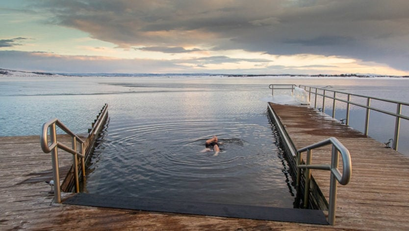 cold lake dip at laugarvatn fontana