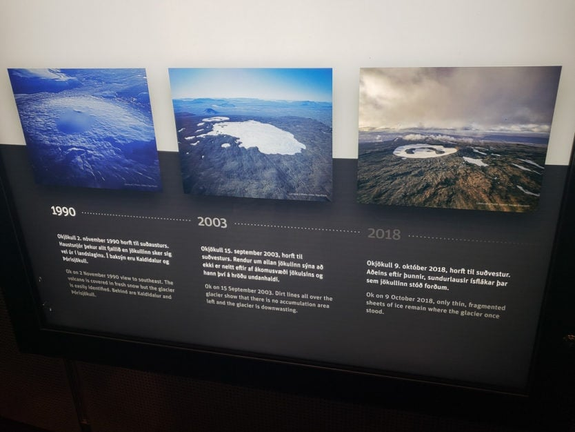 Information display showing the decline of the Okjökull glacier from 1990 to 2018