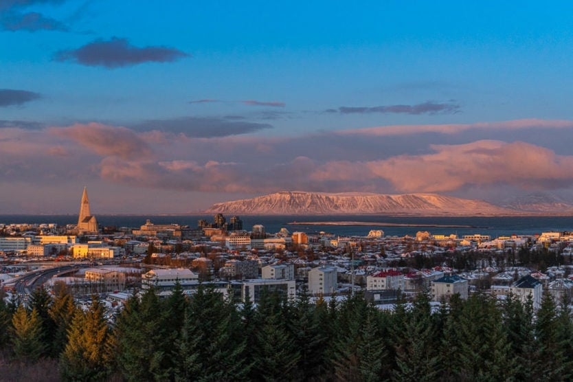 View from the perlan observation deck looking over downtown Reykjavik