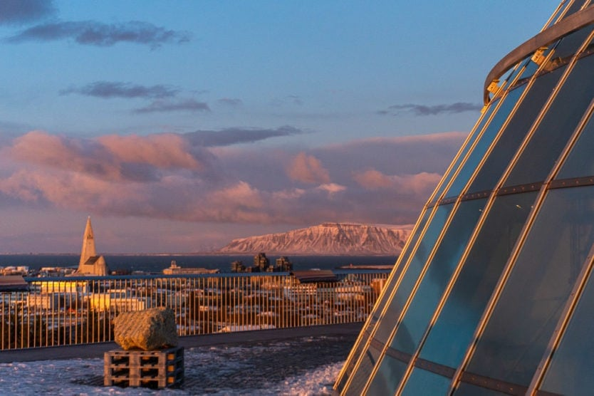 perlan museum with downtown reykjavik in the baground from the 360 observation deck