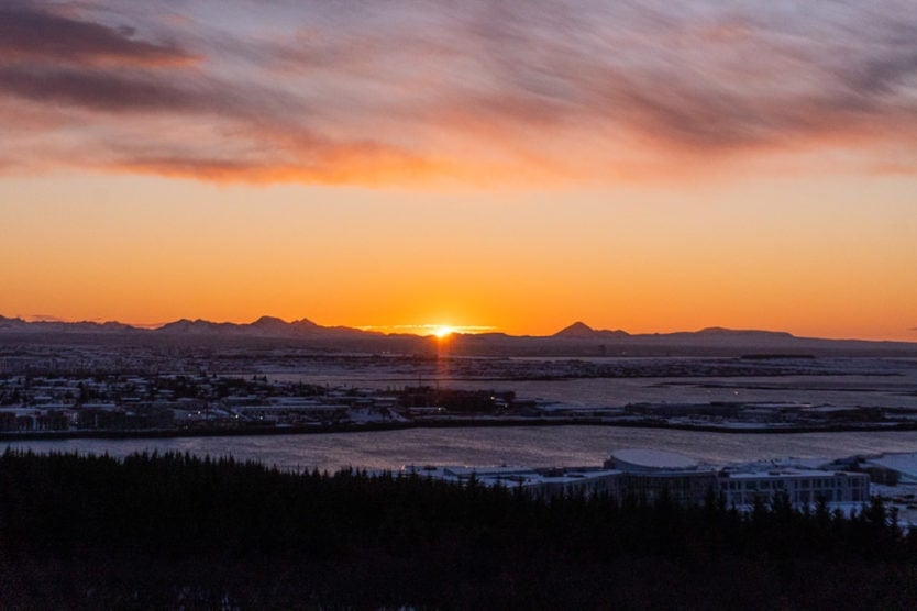 Sunset from atop the Perlan Museum in Reykjavik Iceland
