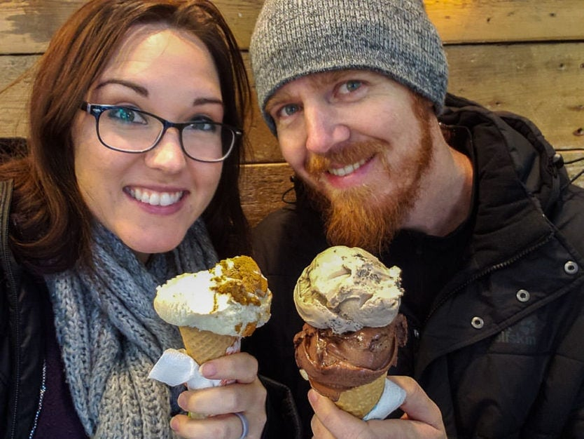 Brooke and Buddy enjoying ice cream from Valdis at reykjavik harbor