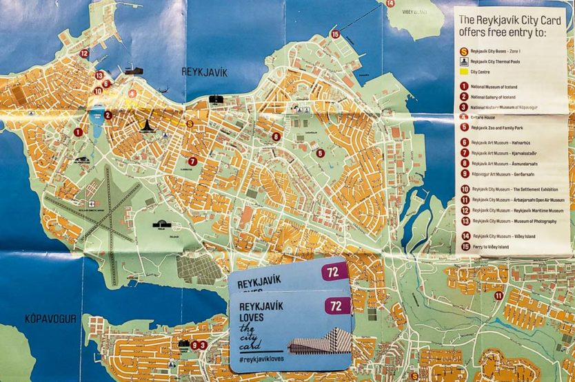 reykjavik city card map and 72 hour city cards