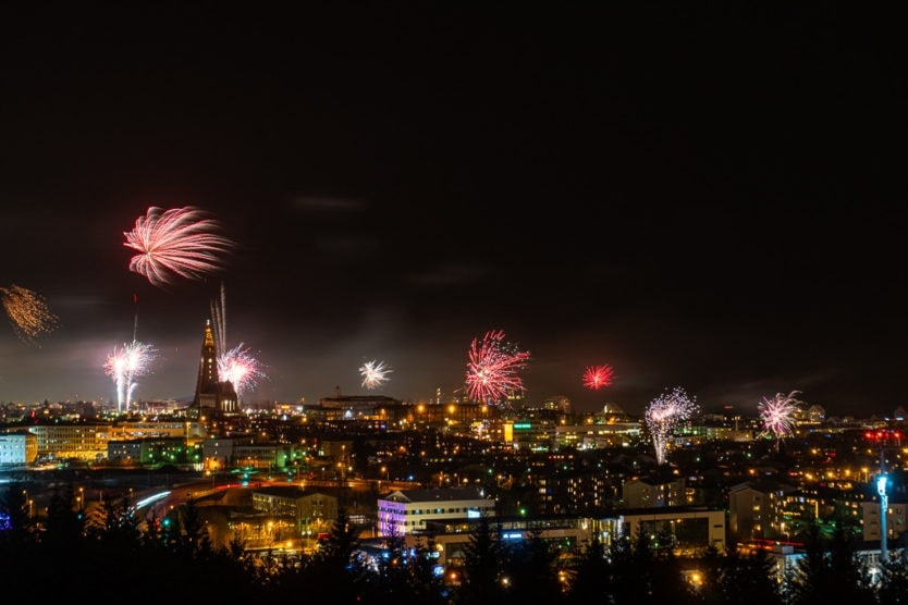 downtown views with Hallgrímskirkja from perlan reykjavik fireworks on new year's eve
