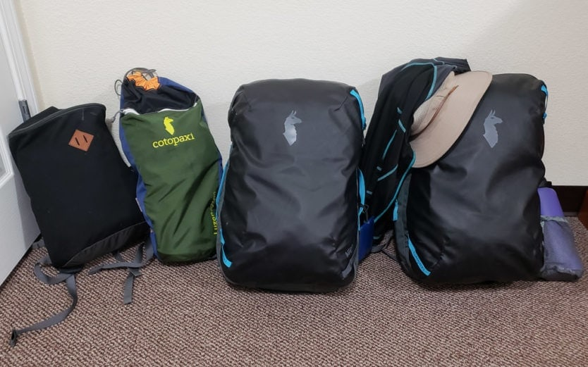 cotopaxi allpa travel packs and other carrry on bags packed for trip
