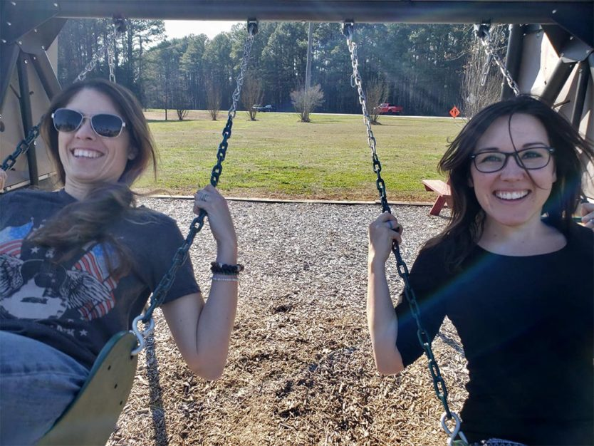 travel friends on swings