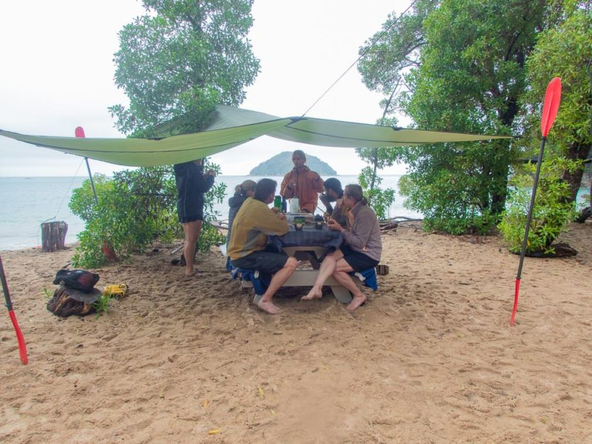 lunch spot on Onetahuti Bay during our Remote Coast Kayaking Tour