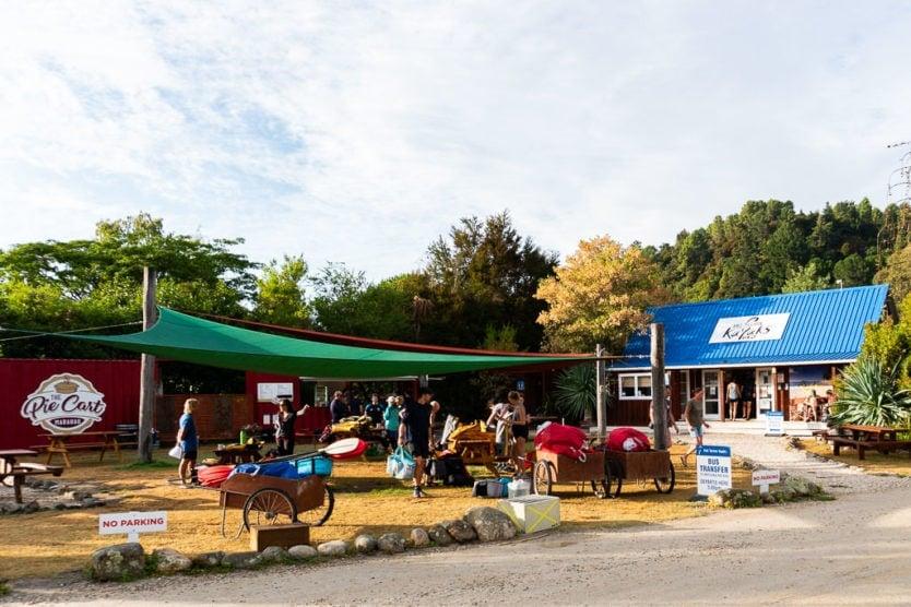 Abel Tasman Kayaks office and the Pie Cart
