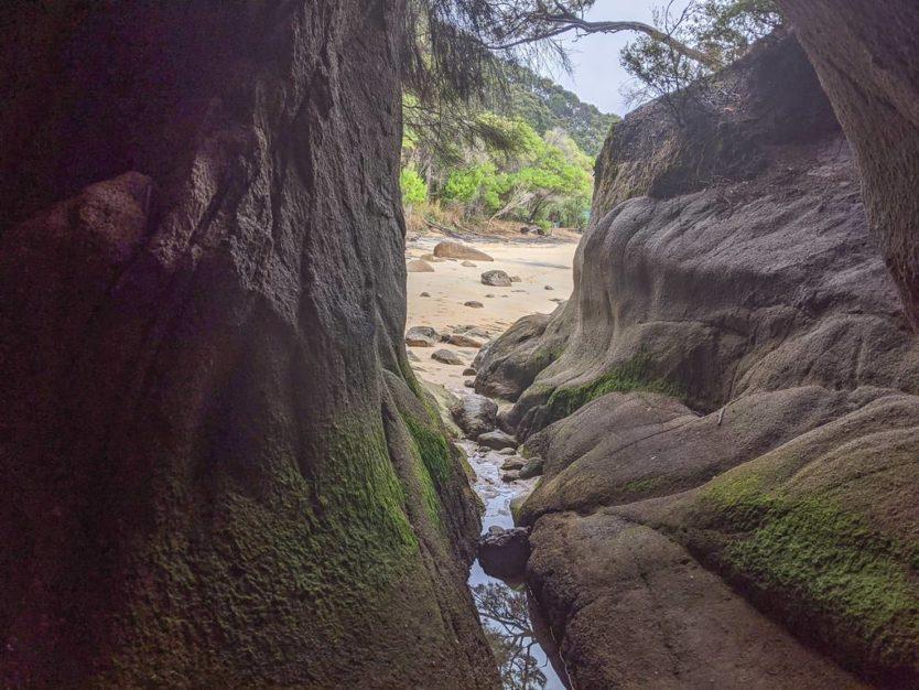 cave you can walk into on Onetahuti Beach
