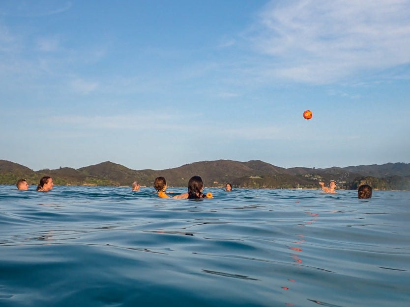 swimming in bay of islands on the rock overnight cruise boat