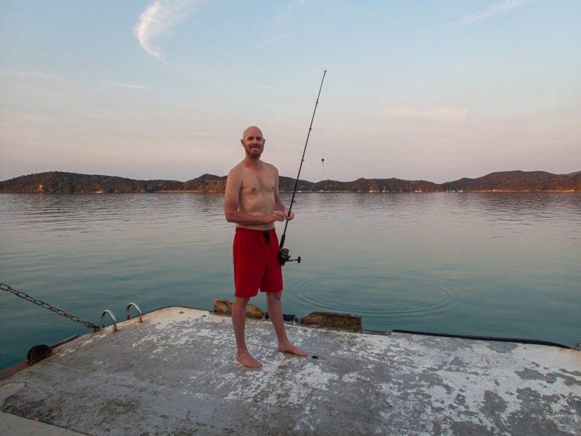 fishing in bay of islands on the rock overnight cruise boat