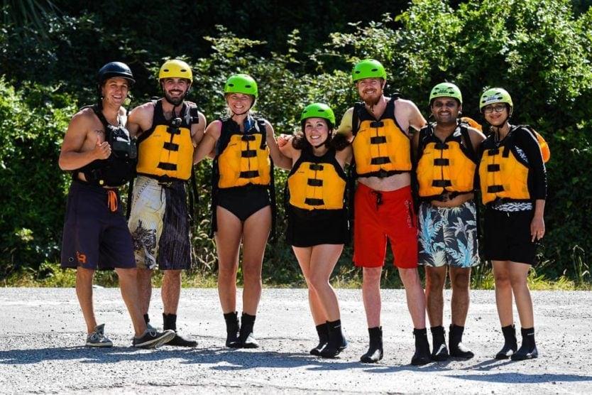 kaituna cascades rotorua rafting trip group photo