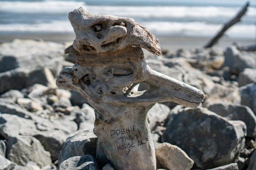 Dobbie the House Else driftwood art on Hokitika Beach