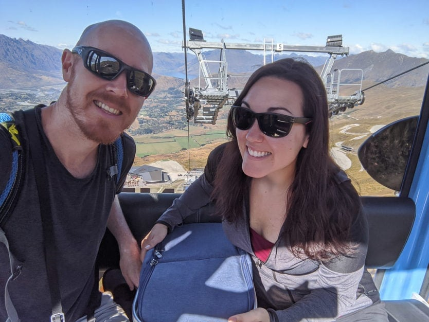 on gondola with picnic hamper at coronet peak