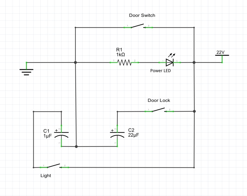 Door Controller Schematic - switches will be relays