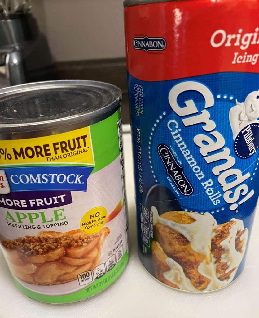 Can of apple pie filling and can of Grands cinnamon rolls