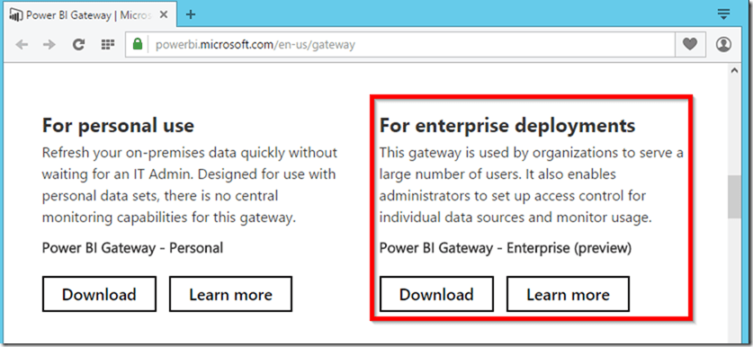 Direct Link to Download Power BI Enterprise Gateway