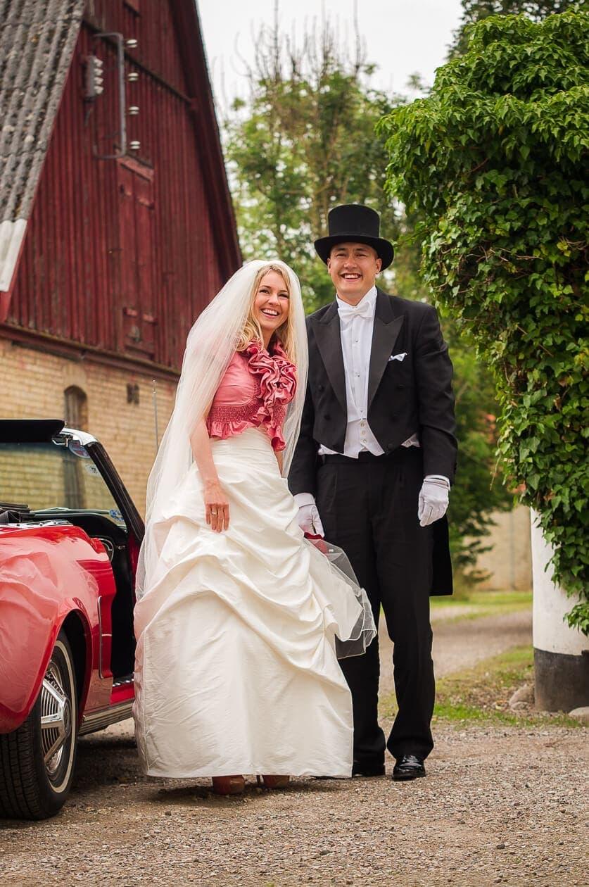 Juli, 2012: Ane og Michael er netop ankommet til receptionen og skal videre ind til gæsterne.