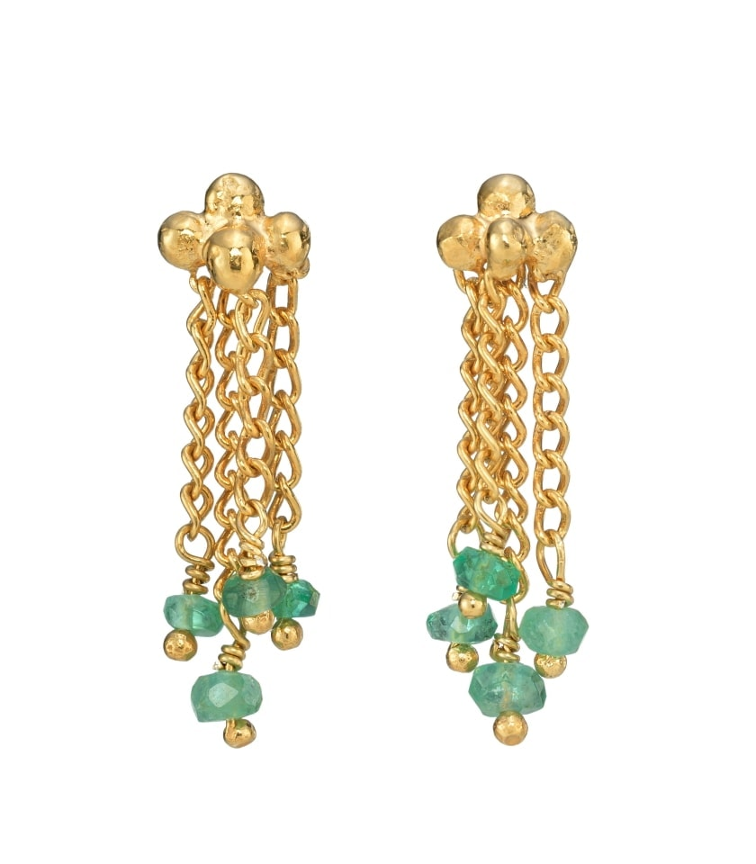 Photo of emerald bead earrings with gold chain and ball studs.